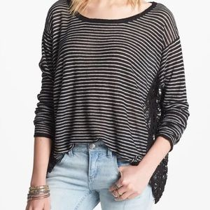 Free People Love Me Do Boho Striped Pullover Sz Xs